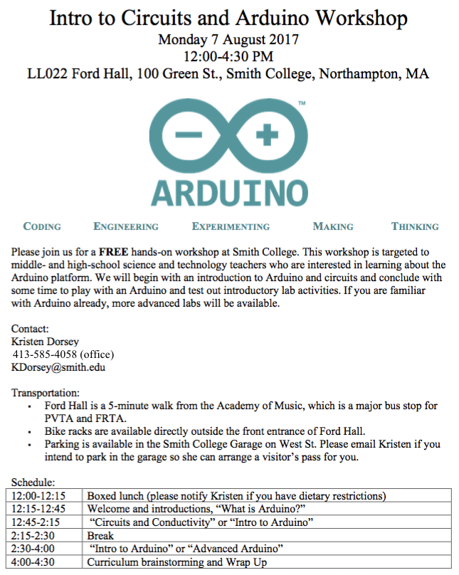 2017 Arduino workshop schedule and description
