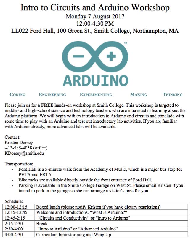 2017 Arduino workshop schedule and description
