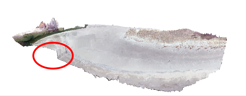 This 3D model of a flight area on Seawall Beach reveals a steep change in elevation on what should be a flat beach, likely caused by an aberration in the drone's flight plan.