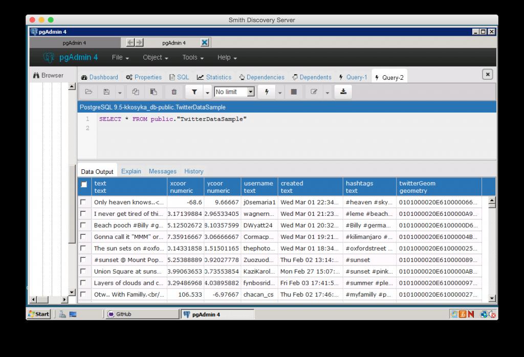 Screenshot of Twitter data stored in a PostgreSQL database