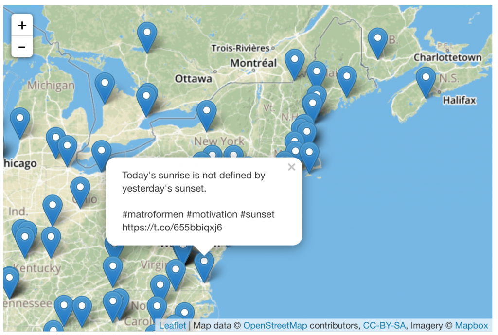 Tweets about sunsets mapped using Leaflet.js