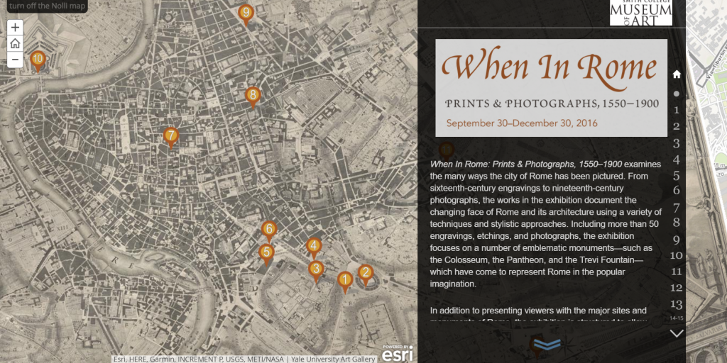 """Screenshot from the """"When In Rome"""" online exhibition, created using Esri Story Maps"""