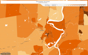 18-24 year olds as % of popoulation by census block group in Northampton, MA