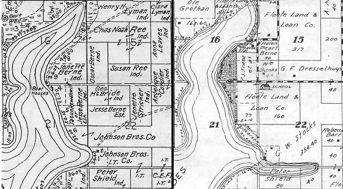 "Left: A map of our study area, Lake Andes, SD, in 1906. Most parcels around the lake are owned by Native Americans (denoted with ""Ind.""), including many Native women. Right: A map of the same area in 1931. Most land owned by Native Americans just 25 years earlier is now in the hands of banks and non-Native American settlers. Both maps courtesy of the University of Nebraska - Lincoln."