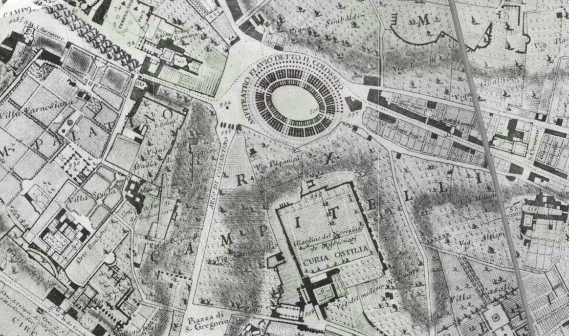 The Colliseum is pictured on a 1748 map of Rome by Giambattista Nolli that will be on display for the exhibit.