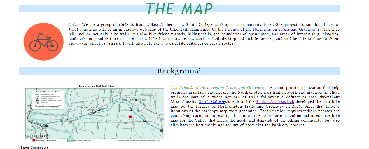 A draft website designed by the students collaborating with Friends of Northampton Trails and Greenways
