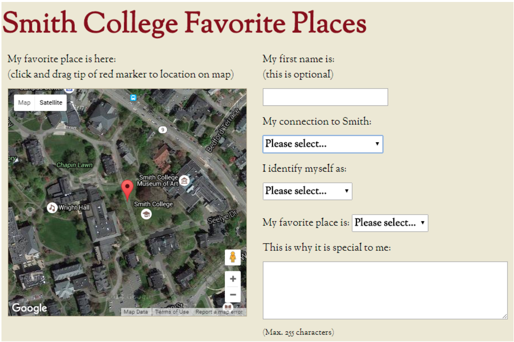 Smith College Favorite Places Form: The form for adding your favorite site