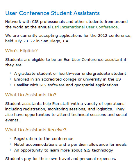 Esri International User Conference Student Assistantship Program